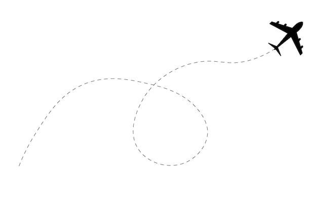 Schwarze schattenbild des flugzeugs lokalisiert auf weiß