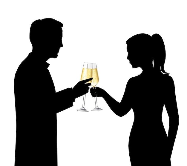 Schwarze schattenbilder der heterosexuellen paare, die champagner trinken und feierszene sprechen, vector illustration