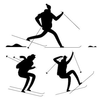 Schwarze schattenbilder der skifahrenleute lokalisiert auf weißem hintergrund