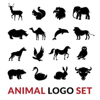 Schwarze schattenbilder der wilden tiere stellten mit lokalisierter illustration des löweelefanten schwaneichhörnchens und des kamels ein