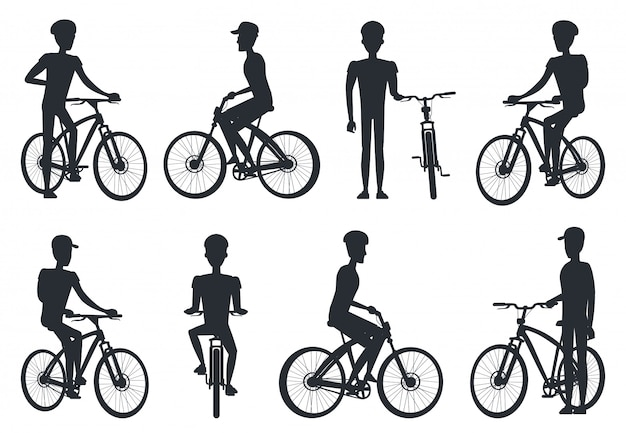 Schwarze schattenbilder des radfahrers fahrend auf fahrrad