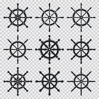 Schwarze schattenbildikonen des schiffs und des bootsrades stellten lokalisiert auf einem transparenten hintergrund ein.