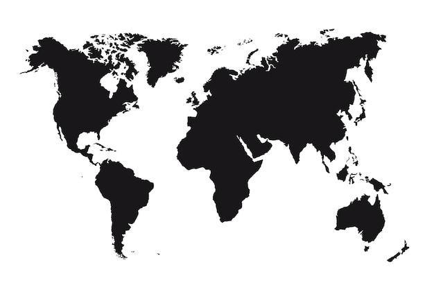 Schwarze schattenbildkarte lokalisiert über weißem hintergrundvektor