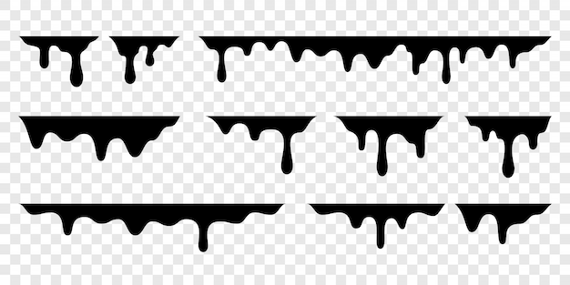 Schwarze schmelze tropft oder flüssige farbtropfen