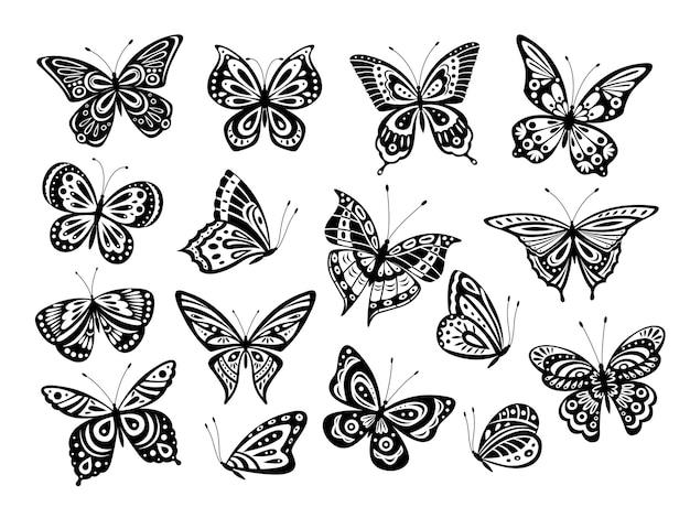 Schwarze schmetterlinge. zeichnen schmetterlingsschattenbild, naturelemente. wunderschöne kunstwerk verzierte flügel verschiedener formen. isolierter tätowierungsvektorsatz. schmetterlingsinsekt, schattenbildschmetterlingsillustration