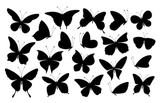 Schwarze schmetterlingsschattenbilder. schmetterlingsikonen, fliegende insekten. isolierte abstrakte kunst frühlingssymbole und tätowierungselementensammlung. illustrationsschmetterlingssilhouette, schwarzweiss-insekt