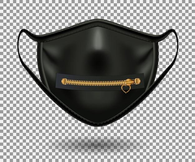 Schwarze schutzmaske von covid 19. bedruckter reißverschluss mit anhänger. realistisches 3d