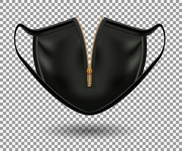 Schwarze schutzmaske vor covid 19. reißverschluss öffnen. realistisches 3d