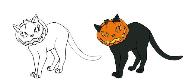 Schwarze schwarze katze, kürbis tragend. beängstigendes süßes hexenhaustier. handgemalt.