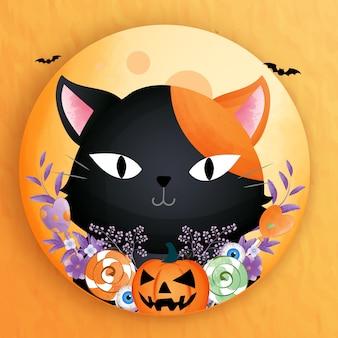 Schwarze schwarze katze mit kürbis und süßigkeiten