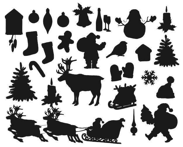 Schwarze schwarze silhouetten isolierten satz. winterurlaub weihnachtsmann, geschenktüte, tanne und stechpalme. weihnachtssocke, vogel, schneeflocke und kerze, weihnachtsball, lebkuchenmann und hirsch