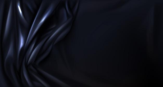 Schwarze seide, latex gefalteter stoffhintergrund, textil
