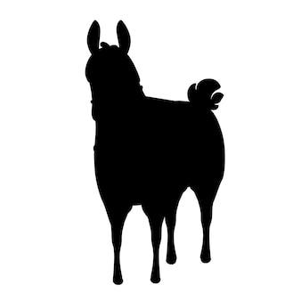 Schwarze silhouette der flachen vektorillustration des lamakarikatur-tierdesigns lokalisiert auf der vorderansicht des weißen hintergrundes