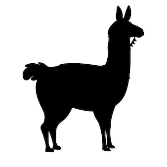 Schwarze silhouette der flachen vektorillustration des lamakarikaturtierdesigns lokalisiert auf seitenansicht des weißen hintergrundes.