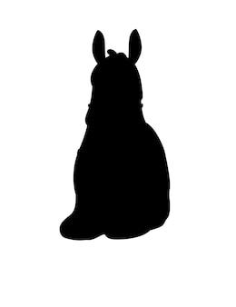 Schwarze silhouette des lamas, das auf der flachen vektorillustration des bodenkarikaturtierdesigns lokalisiert auf der vorderansicht des weißen hintergrundes sitzt.