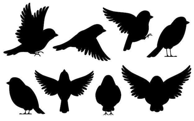Schwarze silhouette. ikonensatz des spatzvogels. charakter. vogelsymbol in verschiedenen seitenansicht. netter spatz für weltspatzentag. illustration