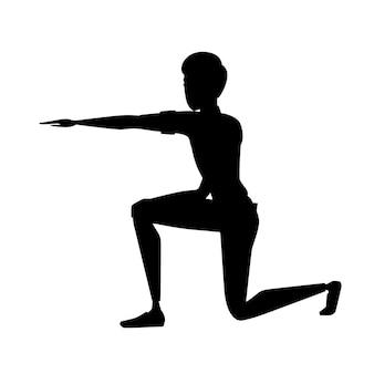 Schwarze silhouette mann zeigen den weg mit hand freizeitkleidung cartoon-charakter-design flache vektor-illustration isoliert auf weißem hintergrund.