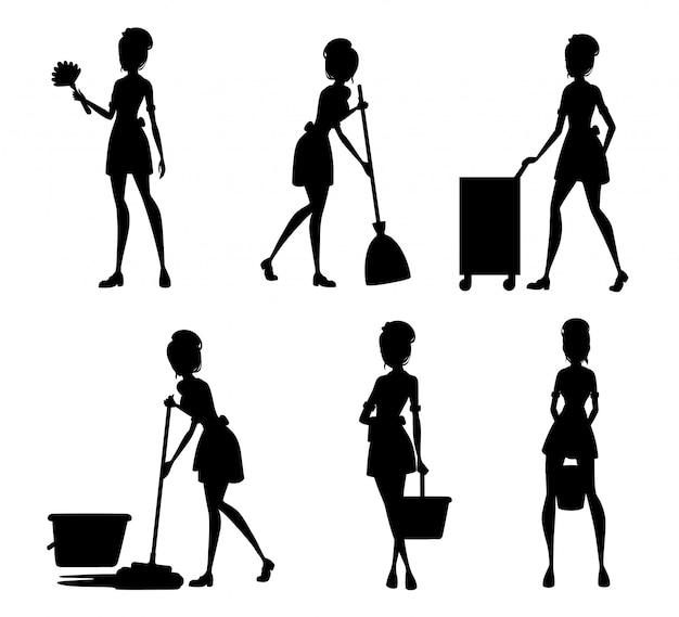 Schwarze silhouette. sammlung von dienstmädchen in französischen outfits. hotelpersonal, das mit der erfüllung von serviceaufgaben beschäftigt ist. zimmermädchen reinigungsboden mit mopp. illustration auf weißem hintergrund
