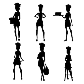 Schwarze silhouette. stellen sie schöne köchin mit haar bäckerei köchin ein