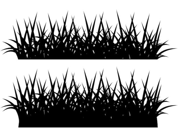 Schwarze silhouette von gras, isoliert auf weißem hintergrund