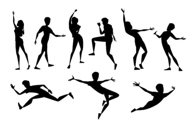 Schwarze silhouette von menschen in verschiedenen posen, die freizeitkleidung tragen, cartoon-charakter-design, flache vektorillustration, isoliert auf weißem hintergrund.