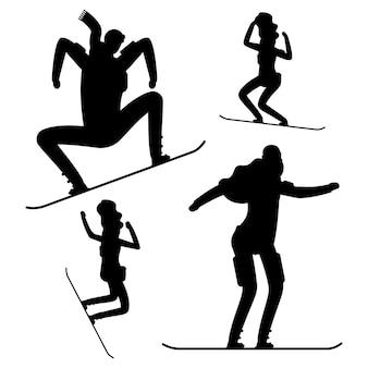 Schwarze silhouetten der snowboardleute lokalisiert auf weiß
