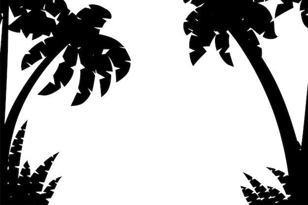 Schwarze silhouetten palmen mit tropischen pflanzen vorlage flache vektor-illustration auf weißem hintergrund