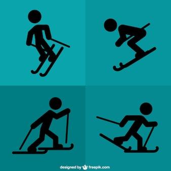 Schwarze silhouetten skifahren