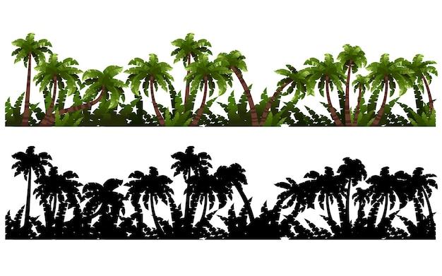 Schwarze silhouetten und farbige palmen mit tropischer pflanzenschablone flache vektorgrafik auf weißem hintergrund.