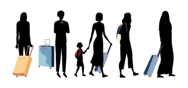 Schwarze silhouetten von menschen verschiedener nationen mit gepäck im flughafenterminal. gruppe von geschäftsleuten, touristen mit kindern mit koffern machen urlaub.