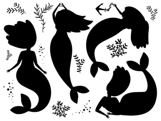 Schwarze silhouetten von seetang und meerjungfrauen
