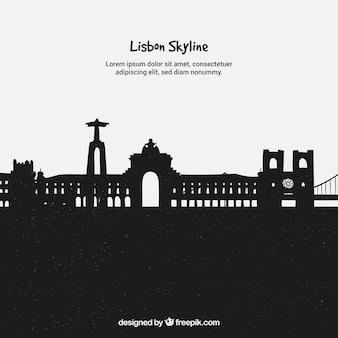 Schwarze skyline von lissabon