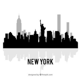 Schwarze skyline von new york