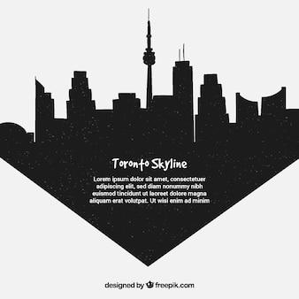 Schwarze skyline von toronto
