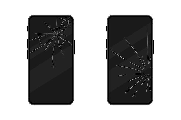Schwarze smartphones mit defektem display. handy-bildschirm kaputt. berühren sie das smartphone mit defektem bildschirm. gebrochener smartphone-bildschirm. reparatur des bildschirms durch zertrümmern des telefons