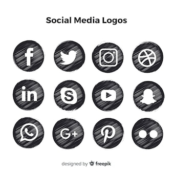 Schwarze social media-logos
