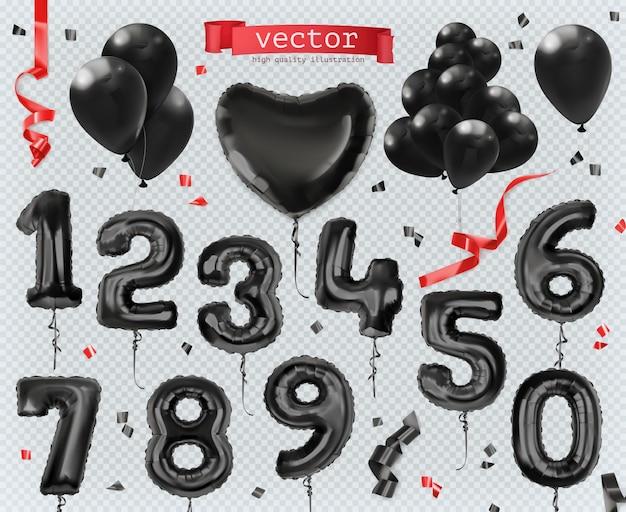 Schwarze spielzeugballons. schwarzer freitag, verkauf, einkaufen, ausverkauf.