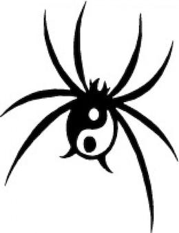 Schwarze spinne mit yin yang symbol