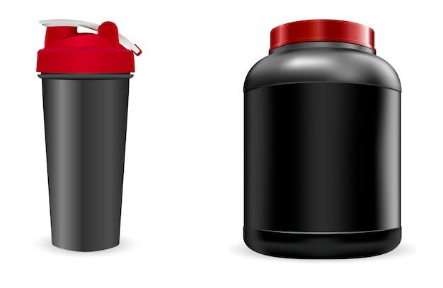 Schwarze sportflasche, shaker. portein container pack