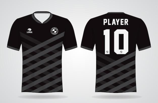 Schwarze sporttrikotschablone für mannschaftsuniformen und fußball-t-shirt design