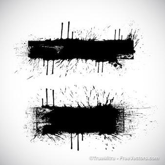 Schwarze spritzer auf weißem hintergrund degrade