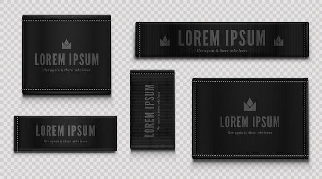 Schwarze stoffetiketten für premium-bekleidung, markenanhänger