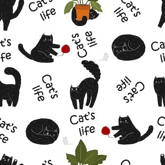 Schwarze süße katze handgezeichnetes nahtloses muster eine lächelnde spielende kawaii katze eine pflanze ein ball ein spielzeug