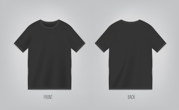Schwarze t-shirt vorlage mit kurzen ärmeln