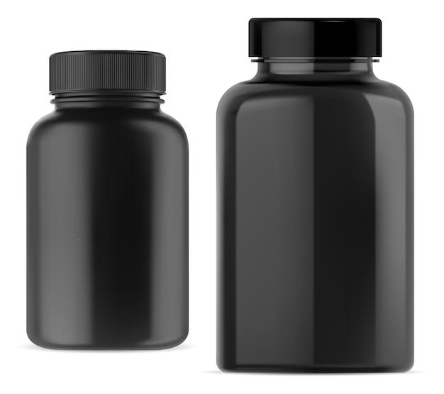 Schwarze tablettenflasche