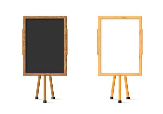 Schwarze tafel des hölzernen schulkindes und weißes set auf staffelei-vorderansicht