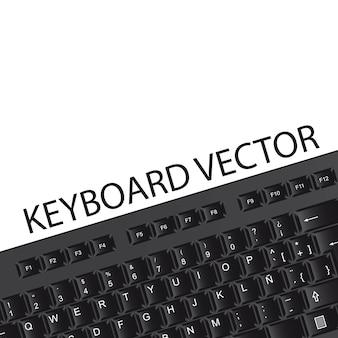 Schwarze tastatur mit platz für kopie