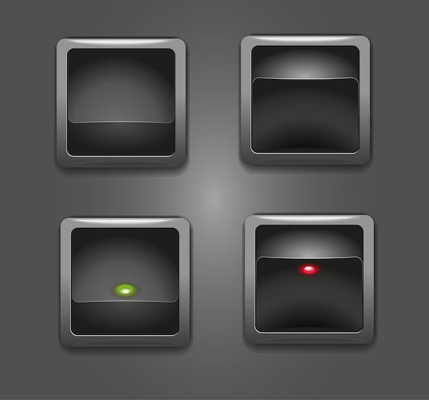 Schwarze tastenschalter mit roter und grüner quadratischer anzeige