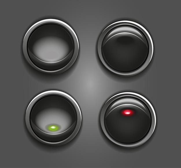 Schwarze tastenschalter mit roter und grüner runder anzeige