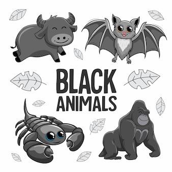 schwarze tiere cartoon büffel vampir fledermaus essig gorilla